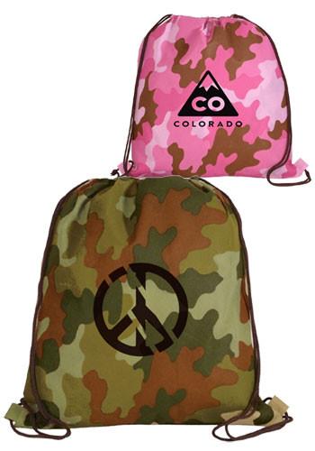 Non-Woven Camo Drawstring Backpacks | AK59080