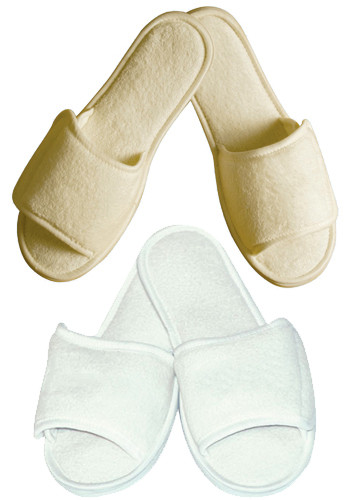 Terry Open Toe Slippers with Velcro Closure Medium | TCN32MED