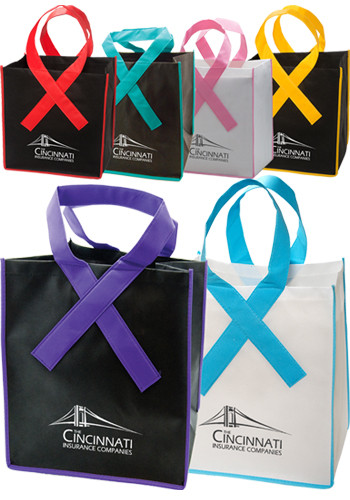 Customized Ribbon Grocery Shopper Tote Bags