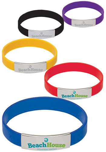 Promotional Metal Accent Silicone Bracelets