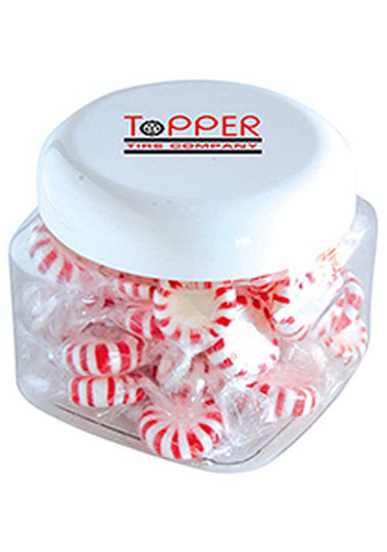 Promotional Striped Pepper Mints in Large Snack Canisters