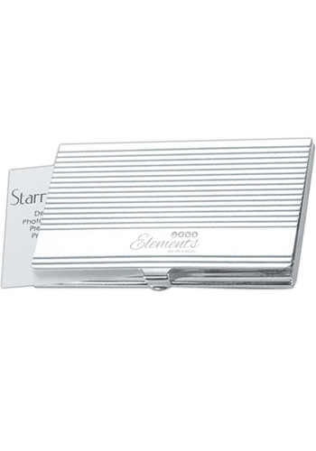 Silver Ribbed Business Card Cases | NOI60155