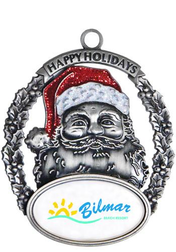 Promotional Silver Santa Holiday Ornaments