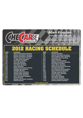 Custom Racing Schedule 4.13in x 5.75 in Magnets