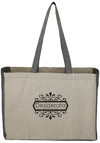 Personalized Recycled Cotton Contrast Side Shopper Tote Bag