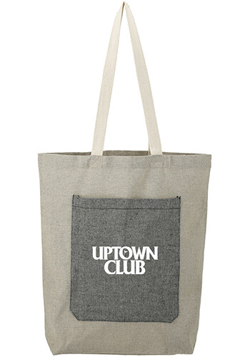 Promotional Recycled Cotton Pocket Tote Bag