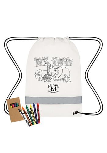 Customized Reflective Coloring Drawstring Bag with Crayons