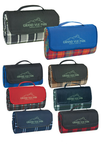 Custom Roll-Up Plaid Picnic Blankets