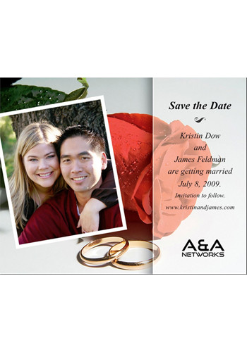 Customized Rose with Photo Save the Date Magnets