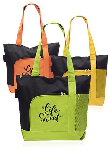 Custom Rosella Tote Bags with Mesh Pocket