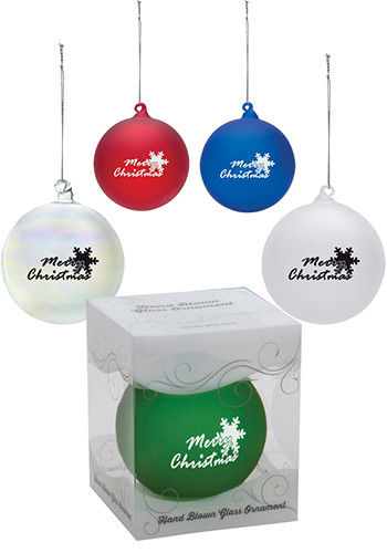 Personalized Round Hand Blown Glass Ornaments