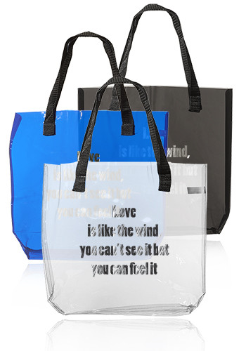 Customized Savanna Clear Plastic Tote Bags