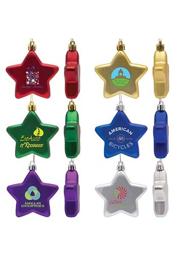 Custom Shatter Resistant Flat Star Ornaments