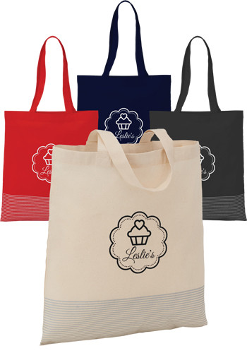 Promotional Silver Line Cotton Convention Totes