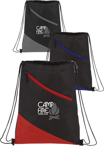 Personalized Slanted Non-Woven Drawstring Bags