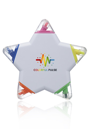 Personalized Star Shaped 5 Color Highlighters