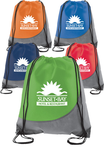 Personalized Swoosh Non-Woven Drawstring Backpacks