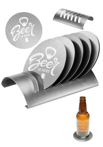 Customized 6 Piece Round Coaster Sets with Stand