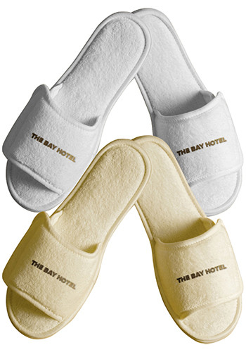 Personalized Terry Open Toe Slippers with Velcro Closure Large
