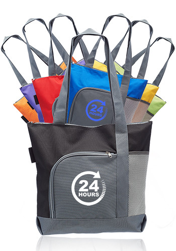 Two Tone Zippered Tote Bags