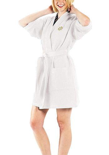 Thigh Length Waffle Weave Kimono Robes - White| TERW1019W