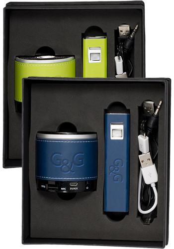 Customized 2200 mAh Tuscany Aluminum Power Banks and Bluetooth Speakers Gift Set