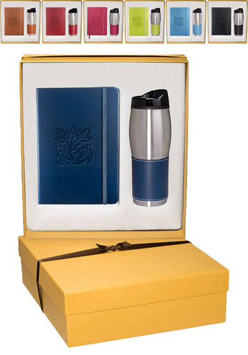 Wholesale Tuscany Leather Journals & Stainless Steel Tumblers Gift Set