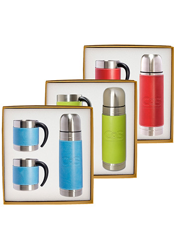 Custom Tuscany™ Stainless Steel Thermos & Coffee Cups Gift Set
