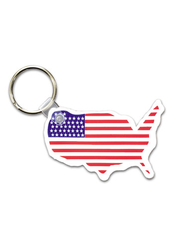 Custom USA Map w/ Flag Keychains