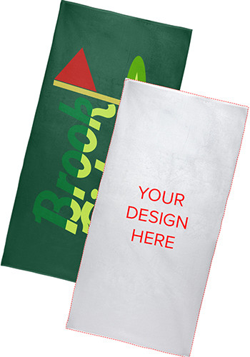 Promotional White Heavyweight Subli-Plush Velour Beach Towels