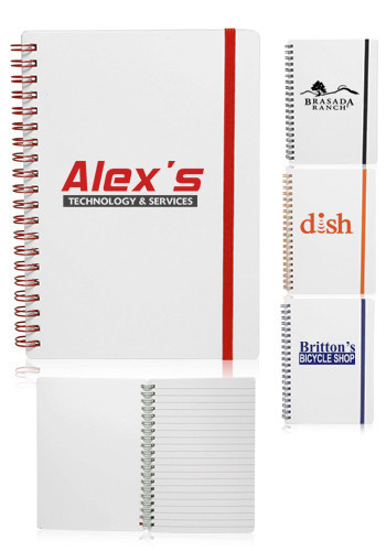 Promotional White Spiral Notebooks with Elastic Band