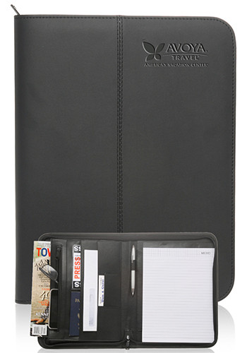 Promotional Zippered Black Leather Portfolios