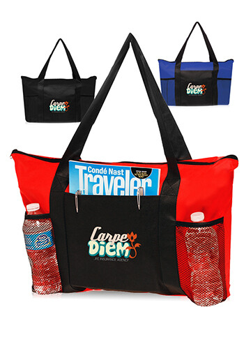 Zippered Non-Woven Tote Bags